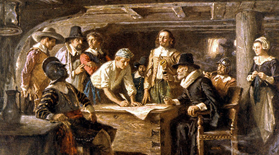 """Pilgrims reject Communism """"Let none argue that this is due to human failing, rather than to this communistic plan of life in itself.""""-William Bradford"""
