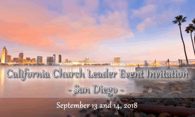 California Ministry Leaders and Spouses, San Diego Event Invitation, September 13-14, 2018